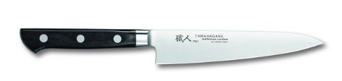 Tamahagane Pro P-1107 - 6 inch, 150mm Utility Knife by Tamahagane. $71.95. Hand wash only; limited lifetime warranty; made in Japan. 6-inch utility knife blends modern construction techniques with Japanese knifemaking traditions. Classic black pakka wood handle, triple-riveted for durability. Razor sharp edge is beveled on the right side and is best suited for right handed users. Constructed from high carbon steel with added molybdenum for enhanced strength and hardness. Tamaha...
