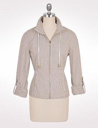 Pinstripe Drawstring Jacket   Dressbarn