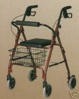 Medline Deluxe Folding Rollator with Basket and Padded Seat - Blue by Medline. $103.43. Hand grips adjust to your height: measure 32 inch from floor in lowest position or 36 inch from floor in highest position. Pull on grips to stop, push to lock brakes.. Seat is 14 inch x 14 inch; 22 inch Height from floor. When open, unit measures: 24 inch Width x 22 inch Length and weighs 16 lb. Capacity: 250 lb.. This rolling walker has a padded seat and backrest, and loop brakes fo...