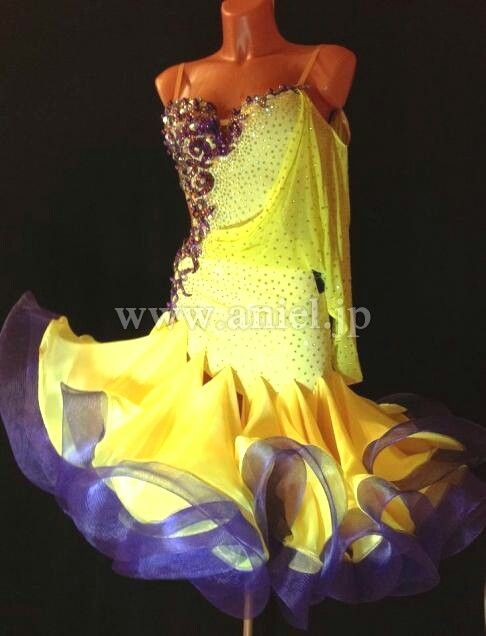 yellow blue purple horsehair ruffle latin dress
