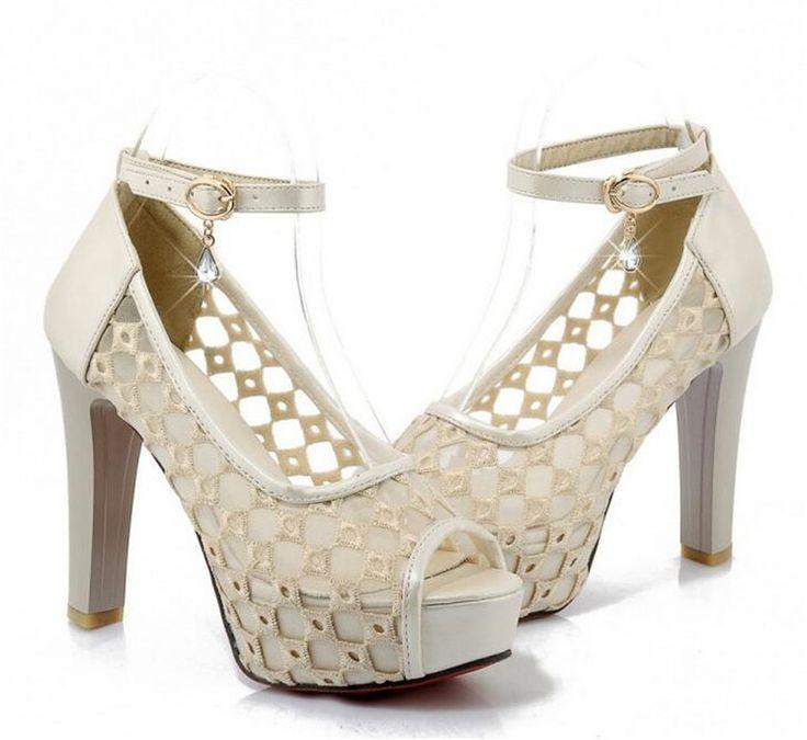Größe 34-43 Sexy High Heels Sandalen Strass Seide Spitze Party hochzeit Schuhe Peep Toe braut Pumps Rote Sohle Römersandalen schuhe //Price: $US $58.50 & FREE Shipping //     #abendkleider