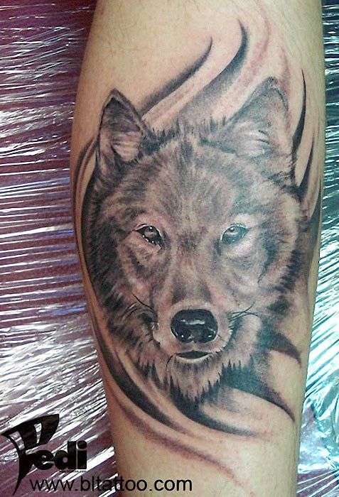 tatouage loup 54