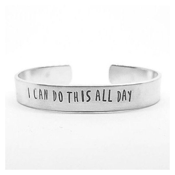 "Captain America Civil War quote aluminum cuff ""I can do this all day""... ❤ liked on Polyvore featuring jewelry, bracelets, hand stamped jewelry, cuff bangle and cuff jewelry"