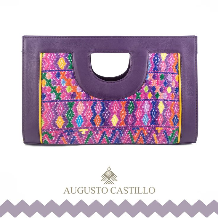 "Geometric pattern. Made of hand made guatemalan ""huipil"" and genuine leather."