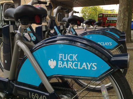 """""""When British bank Barclays PLC agreed to shell out £25 million ($39  million) to sponsor London's new public bike-rental program, it  envisioned the marketing benefits of seeing its sky-blue logo draped on thousands of cycles around the city.  But this week Barclays' prime marketing opportunity quite literally turned into a curse."""