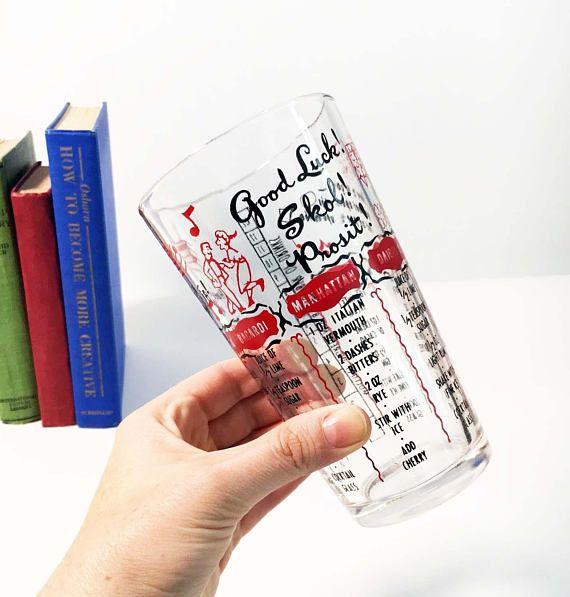 Vintage Drink Cocktail Recipe Glass  Good Luck Skol Prosit
