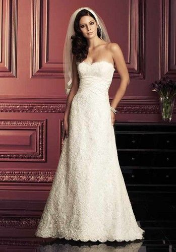 Fashion-Forward Strapless Empire Lace Satin Wedding Frocks - Wedding Dresses