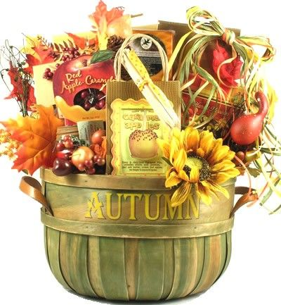 Fall gift baskets with the colors and flavors of Autumn