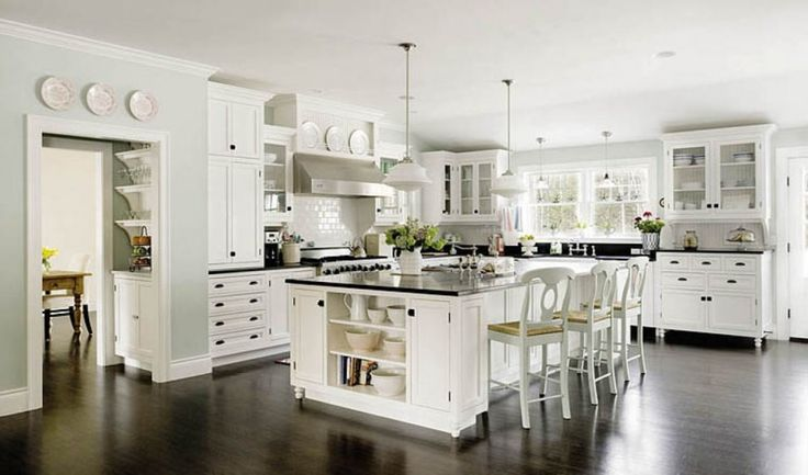 Exciting And Alluring Black And White Kitchen Ideas With Gray Wall With White Plate Accents White Kitchen Cabinet White Kitchen Island With Black Countertop And Green Flowers