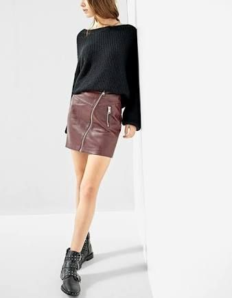 Stradivarius faux leather skirt with diagonal zip