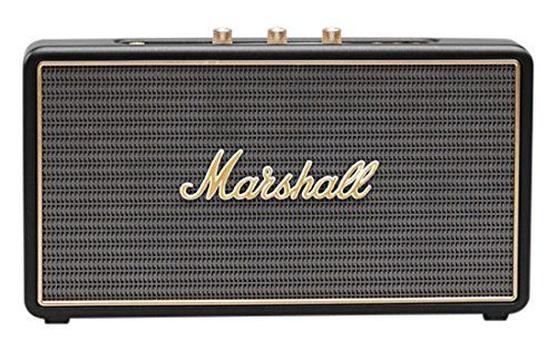 Marshall Stockwell Portable Bluetooth Speaker, Black (Certified Refurbished) - Built for life on the road, the Stockwell is the smallest travel speaker made by Marshall today. This portable active stereo speaker weighs just 1.20 kg, which means it'll go wherever you want it to. Rechargeable lithium-ion batteries are built into the Stockwell, which give it 25 hours of playin...