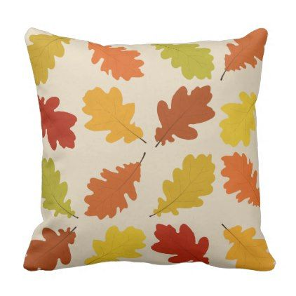 Fall Oak Leaves Beige Throw Pillow - fall decor diy customize special cyo