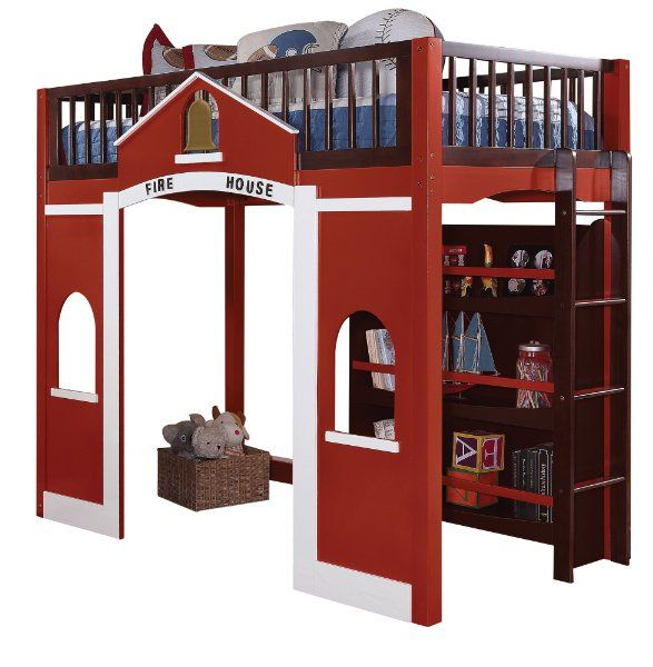 Acme 37085 fola loft bed twin espresso and red finish amazon home kitchen brody 39 s room - Fireman bunk bed ...