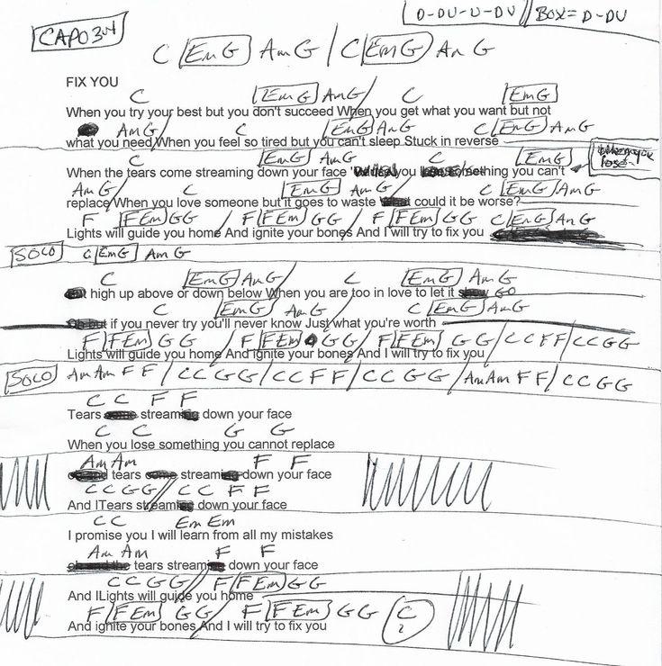 Fix You (Coldplay) Guitar Chord Chart - Capo 3rd   Guitar chords. Guitar chord chart. Fix you coldplay