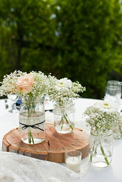 Tie some brown/gold ribbon around it. Put on top of a piece of wood on the table. Do you put stones in it? hmm