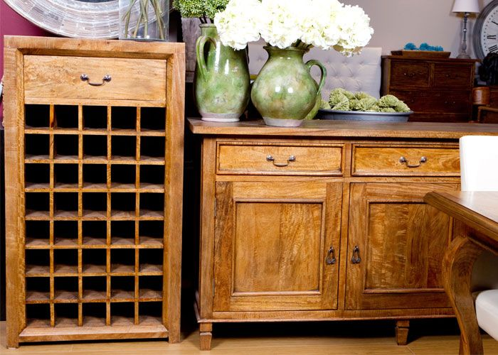 Mango wood wine storage available in store.