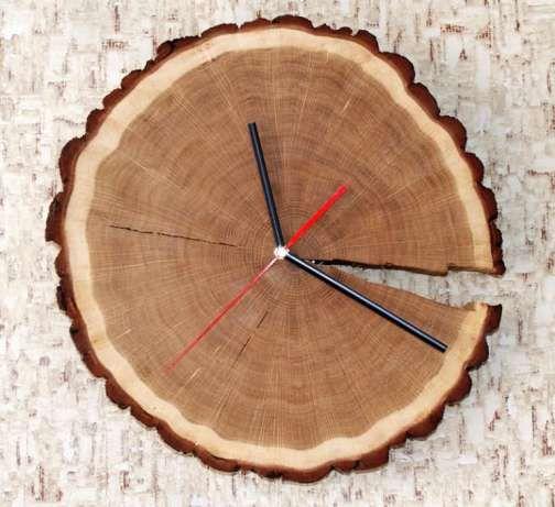 Duży zegar z plastra dębu z korą, drewniany zegar Osiek - image 1