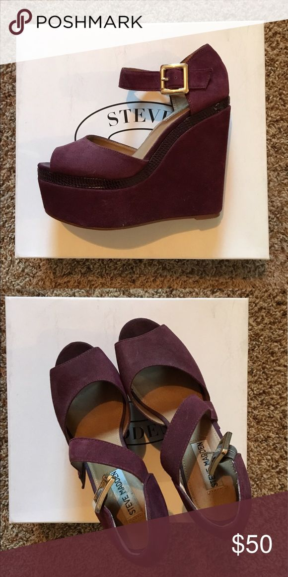Purple Suede Steve Madden Wedges Like new! Worn once. Purple, suede Steve Madden wedges. Steve Madden Shoes Wedges