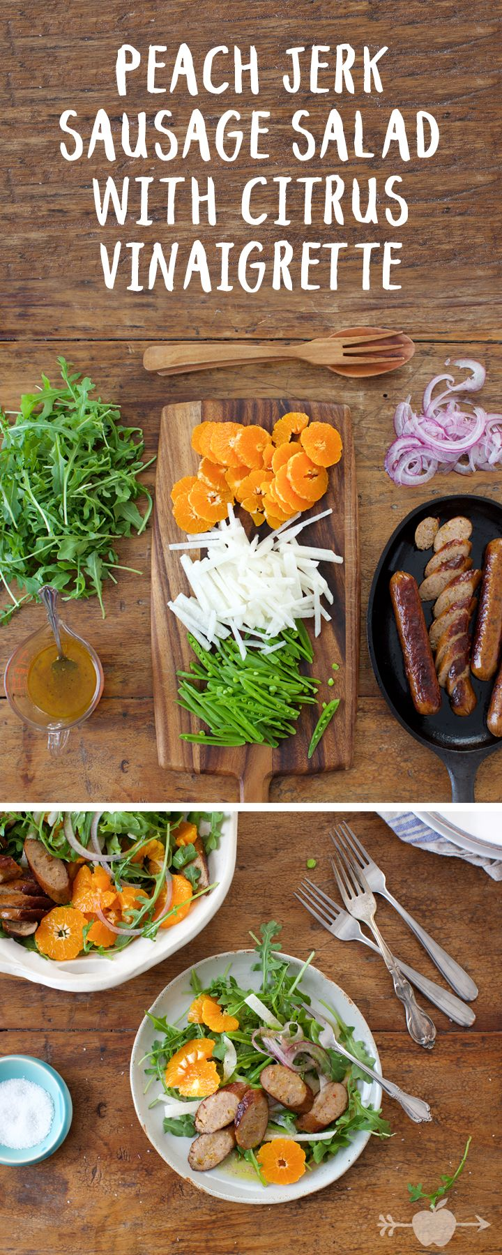 Our peach jerk chicken sausages add a jolt of meaty heat to this juicy, crunchy, deliciously filling salad.