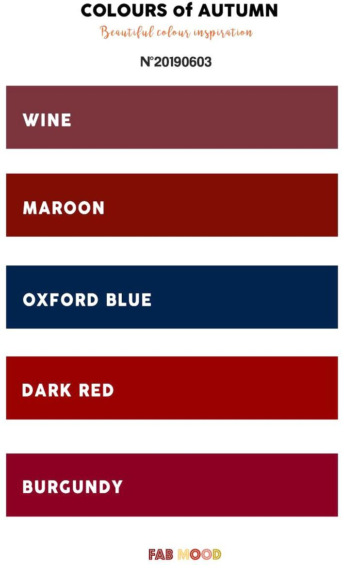 Wine Maroon Oxford Blue Dark Red Burgundy Color Scheme Color Pantone Fallcolor In 2020 Fall Color Palette Burgundy Color Scheme Fall Colors