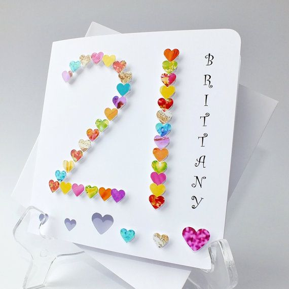 Handmade 3D '21' Card - Personalised 21st Birthday Card, Personalized 21st Card, Anniversary, Age 21, Name, Brother, Sister, Daughter BHA21