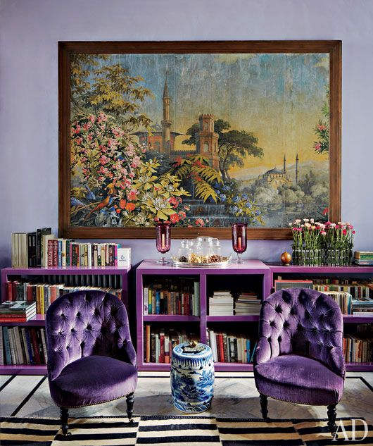 Purple chairs! decoratingideas interior design, modern, contemporary, transitional interiors, classical architecture, vintage