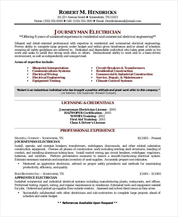 Electrician Resume Template 5free Word Excel Pdf Resume Template Resume Templates Resume Skills