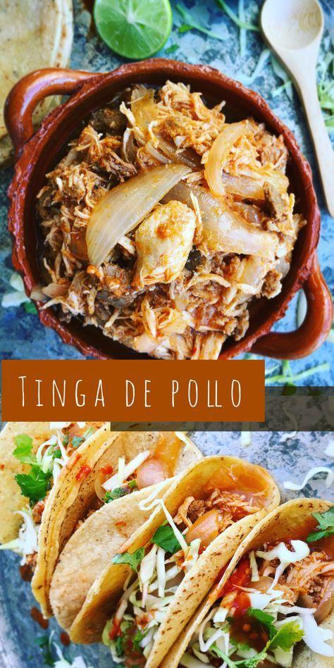 Delicioso guiso poblano de carne deshebrada de pechuga de pollo, con chorizo y rodajas de cebolla acitronada, cocinado en salsa de tomate y chile chipotle; servido en tacos de tortilla de maíz, con repollo, cilantro, limón y salsa al gusto.