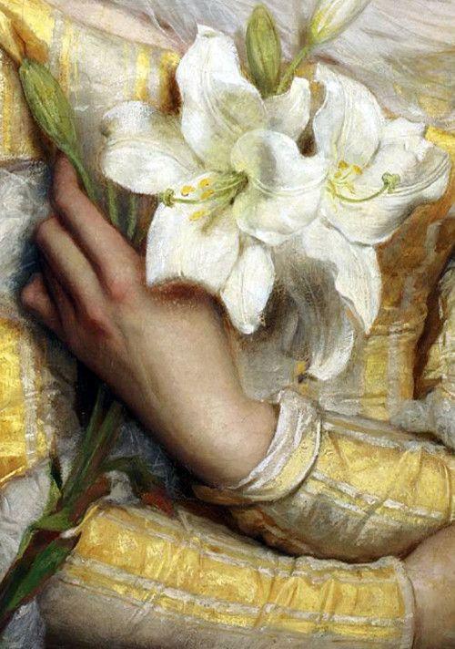 Lilies,detail. Gustav Pope (d.1895)