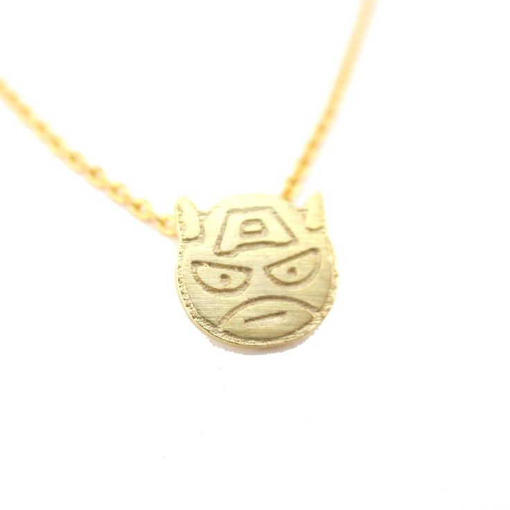 Chibi Captain America Shaped Charm Necklace in Gold | Super Hero Jewelry
