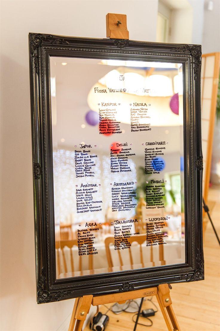 cute wedding seating chart drawn on a mirror