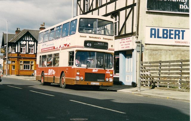 South Yorkshire Transport 2200 NKU200X Alexander Dennis Dominator. Sheffield 25th March 1990