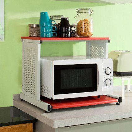 SoBuy Forno a microonde Mensole,Mensola angolare, scaffale da cucina, in metallo e legno,FRG09-R(L56-L31*A46cm),IT: Amazon.it: Casa e cucina