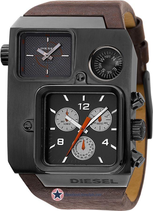 Men's Diesel Dual Time Chronograph Black leather Watch-DZ1319 #Diesel # Watches #wristwatch