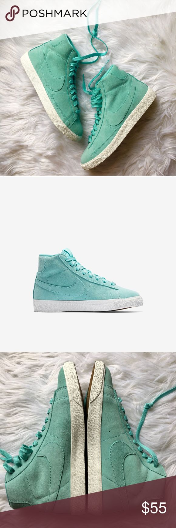Nike Blazer mid tops suede shoes women's size 8.5 New without box Nike mid tops in a Tiffany Blue suede leather. These are a Youth Boys size 7, which converts to an 8.5 in women's shoes. Nike Shoes Sneakers