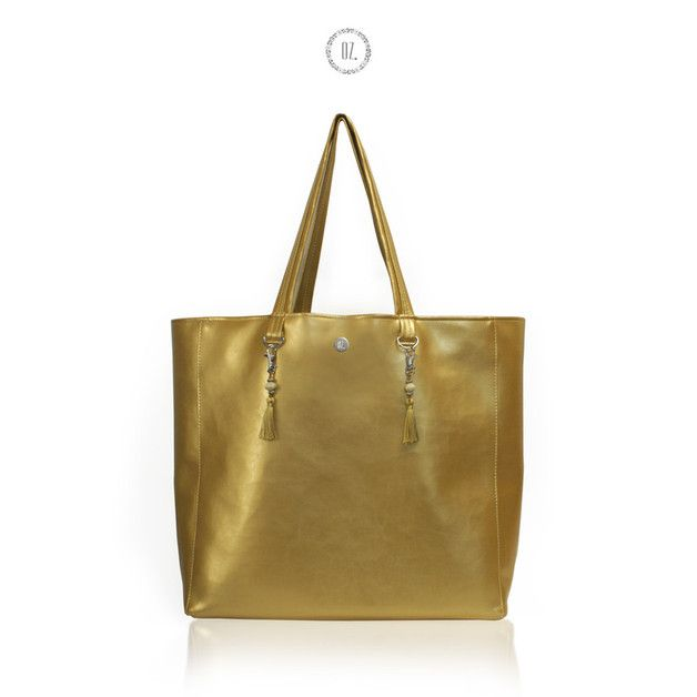 Torba XL GOLD - shopper, ekologiczna skóra złota - Bags-of-OZ - Torby na ramię