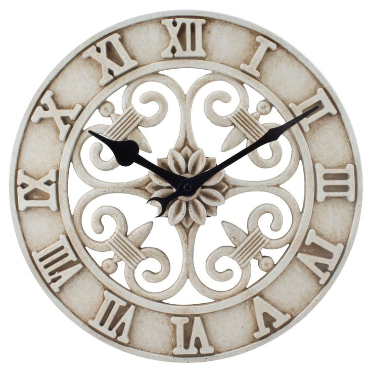 Lacrosse Technology Antiqued White Cast-iron 14-inch Indoor/Outdoor Wall Clock (14 In. Antiqued White Cast Iron IN/OUT Clock)