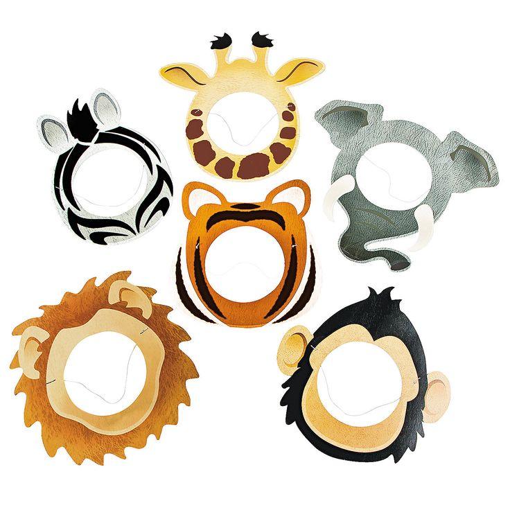 Printed Animal Face Masks - OrientalTrading.com