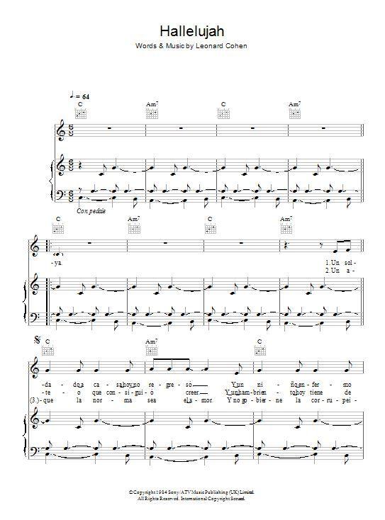 Klavír, zpěv & kytara | Il Divo: Hallelujah (noty pro klavír, zpěv, akordy na kytaru) | Autorizovaný tisk na objednávku - noty, taby, akordy - A Dealer Of Music Sales Ltd.