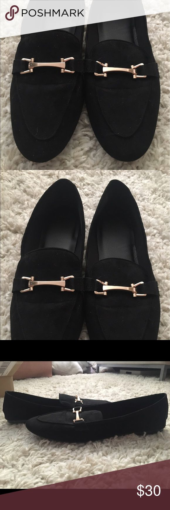 Black faux suede loafers from ASOS. Black faux suede loafers from ASOS. Gold hardware. Tried on for size, never been worn. ASOS Shoes Flats & Loafers