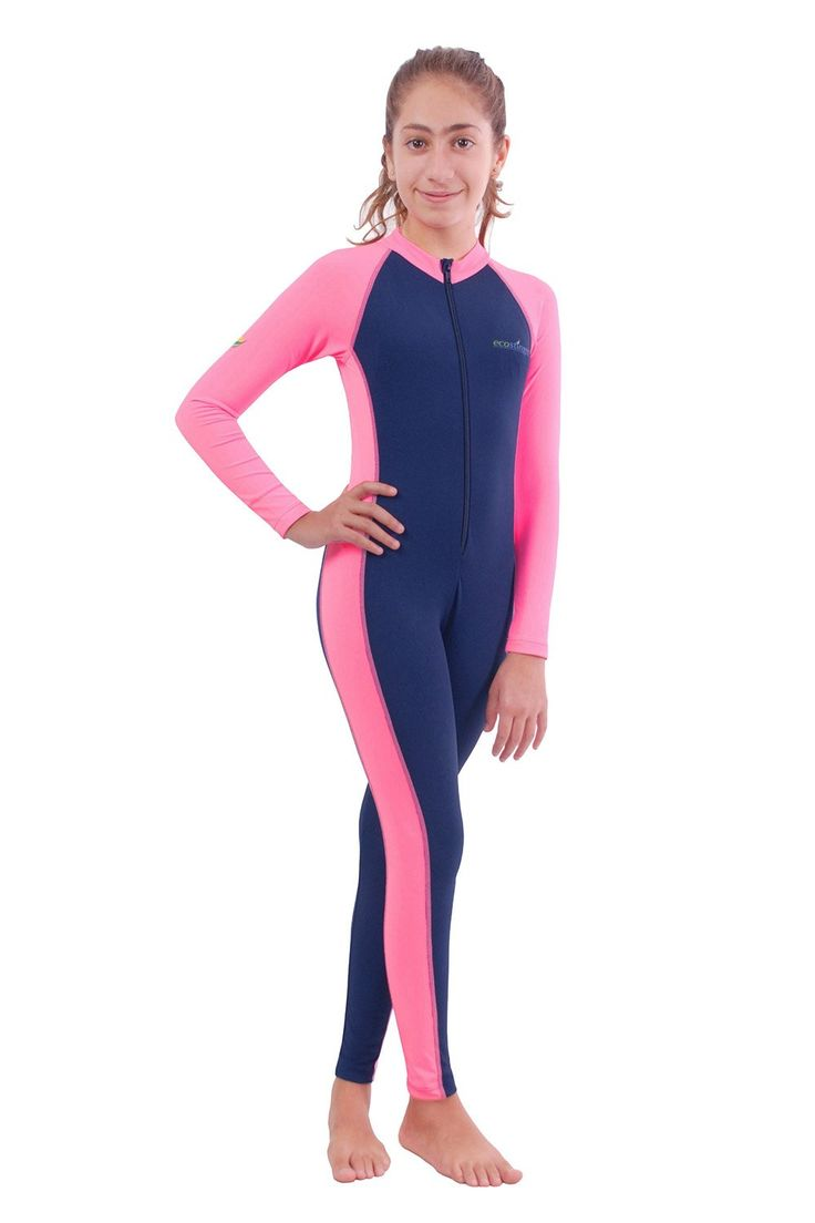 Girls Full Body Swimsuit UV Swimwear Chlorine Resistant UPF50+ Navy Pink (4). Chlorine Resistant retaining elasticity and colors longer than any other swimwear fabric. Perfect use in chlorinated pools. UPF50+ Sun Protection Blocking over 97.5% of the sun UVA and UVB. Protect your skin against sunburns and damage effect from the sun UV rays. Protect the skin against box jellyfish stingers, sea lice and other sea creatures, stay safe while enjoying your beach and swimming activities. Light...