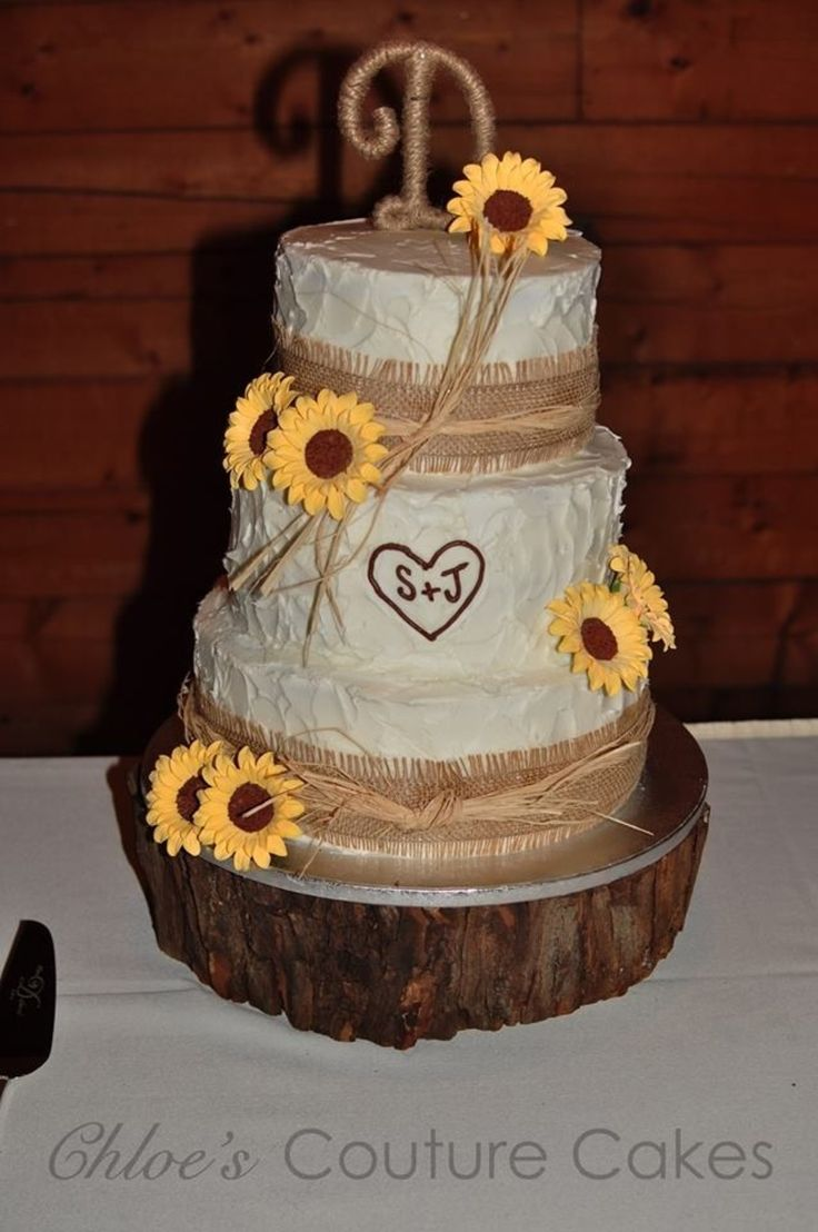 rustic wedding cakes with sunflowers burlap raffia and sunflowers sugar flowers 19574