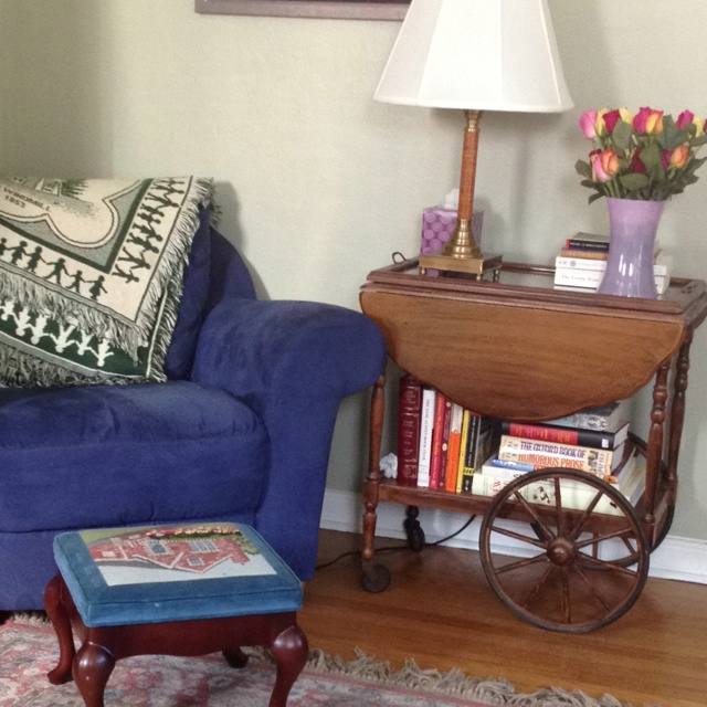 The revamped reading corner with a tea cart as an end table - thanks for the inspiration, Pinterest!