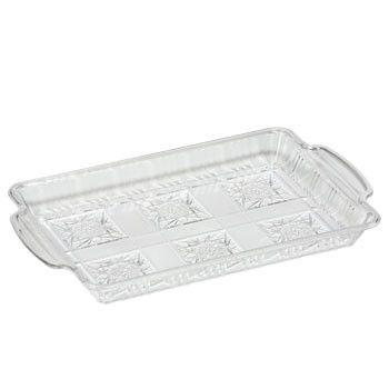 Clear Rectangular Plastic Tray, 13x8""