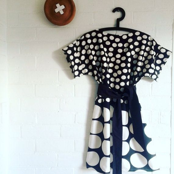 Marimekko Fabric Black White Ceres Kommetta Dress by karlacola