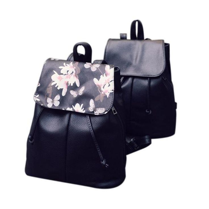 Women Leather Backpacks Printing Foral Bags School Bag For College Designer Female Backpack Bolsas Mochilas 2017 High Quality