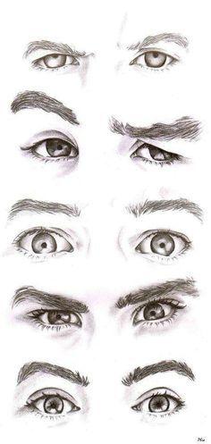 Ojos con expresiones masculino