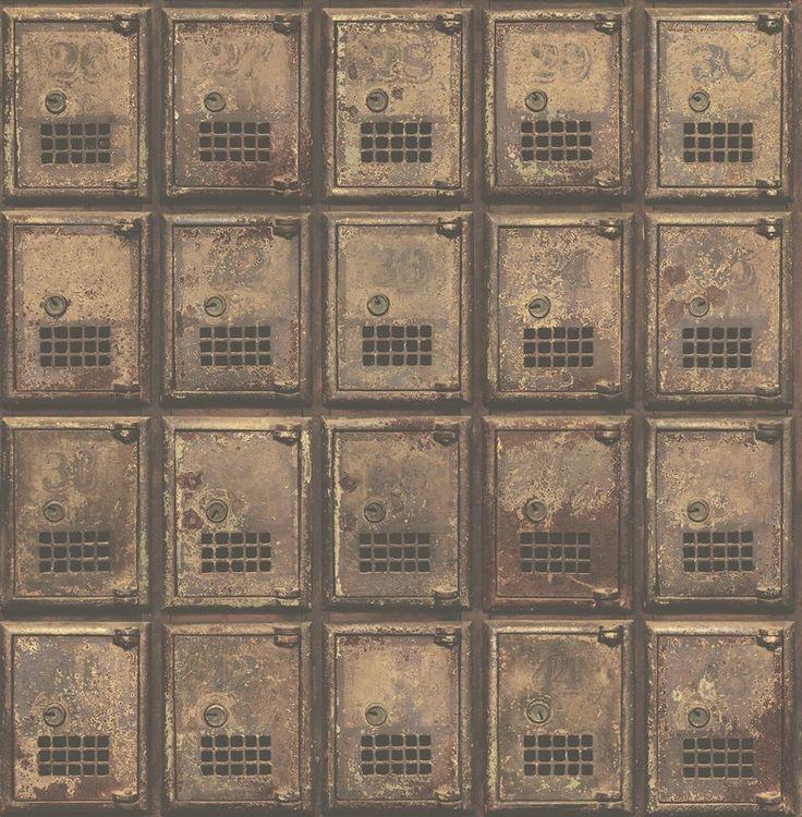 "Vintage P.O. Boxes Distressed Metal 33' x 20.5"" Geometric Panel Wallpaper"
