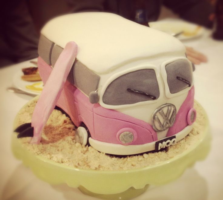 Jacqui's (Moo's) Pink VW Combi Cake complete wt crushed biscuit sand :) - By Nat and Jess