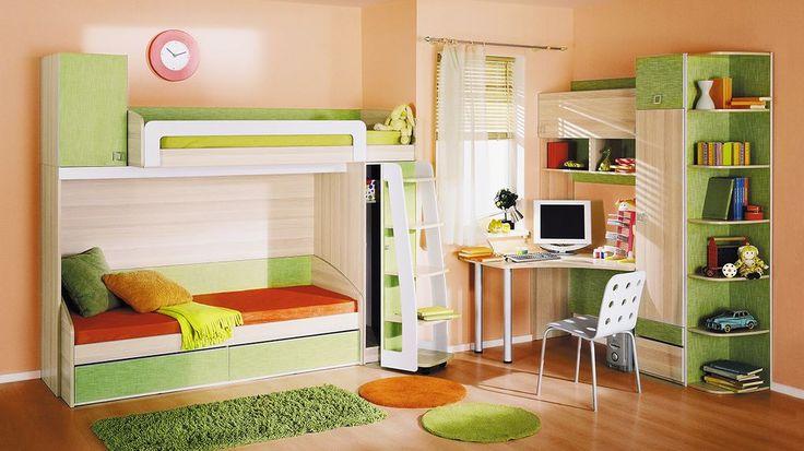 Настоящая детская должна быть удобна для ребенка, поэтому набор мебели для детской Киви – это то, что вам нужно! Сочетание модулей нежно зеленого цвета очень гармонично подчеркивает текстуру древесного оттенка. Набор мебели оборудован полноценным шкафом, закрытыми и отрытыми полками, чтобы вместить все необходимое для ребенка, а благодаря двухъярусной кровати и угловому письменному столу вы сэкономите больше пространства в комнате. Уникальность его в том, что он раздельный.
